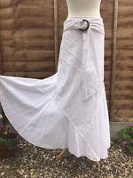 "Per Una Size 14 L White Maxi Skirt Floral Belt Boho 38"""