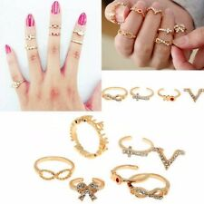 1 Set 7pcs Women's Charm Bowknot Knuckle Midi Mid Finger Tip Stacking Rings Gold