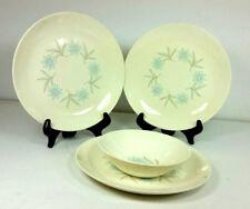 Homer Laughlin Dura Print Blue Flower Star 3 Plates 1 Bowl Replacement Vintage
