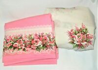Vtg Cannon FULL Sheet Set Pink Floral Roses Red Green Lace No Iron Percale
