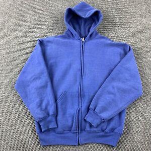 Vintage Made In USA Russell Blank Sweatshirt Hoodie Mens Sz medium Full Zip blue