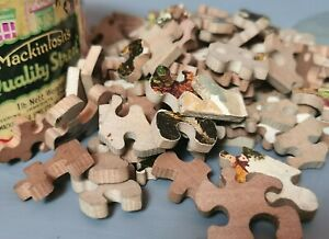 Vintage wooden jigsaw, c1940s, mystery puzzle, Confectionery tij
