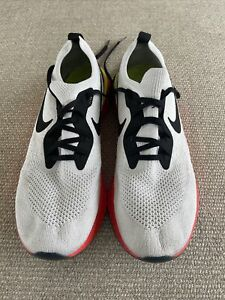 Nike Epic React Flyknit, White and Bright Crimson, Men, 11.5 US