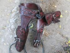 22 D.A.D CUSTOM LEATHER Tooled Double Western Holster Fast Draw Brown