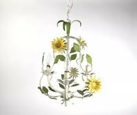 Vintage Italian Tole Painted Flower Chandelier Pendant Hollywood Regency Light