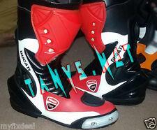 Brand New MotoGP Ducati Motorbike Racing Motorcycle Red Black White Leather Boot