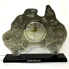 Australian Pewter R'd Map Clock  Australia Souvenir Table Clock Gift Office Deco