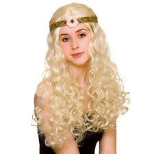 Flower Power Hippie Wig 1970s Hippy Girl Fancy Dress Wig Blonde