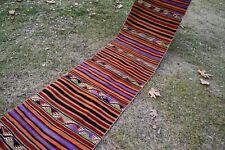 Extra Long Vintage Handmade Turkish Oushak Runner Kilim Rug 24'5'' x 2'2''