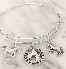 3 Horse /Horse shoe Silver charms Expandable Bangle Bracelet