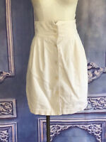 Classic Vintage 80s High Waisted Corduroy Skirt XS Ivory Button Front ESPRIT