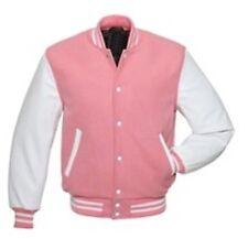 Exklusiv  Windhound College  Jacke rosa mit weißen Echtleder Ärmel M