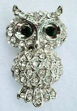 Silver tone & crystal little owl brooch / lapel pin Approx. 3.75 x 2.25cm