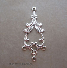 10 silver plated jewelry link drop connector fancy spade design