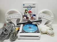 Nintendo Wii Console Mario Kart & Wii Sports Bundle 2 Controllers/Wheels TESTED