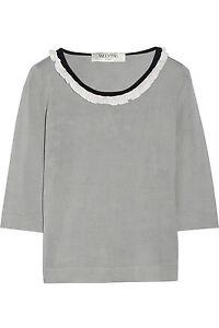 Neuf Valentino Roma Gris Noir Blanc Tricot Extensible Soie Haut It 46 US 14