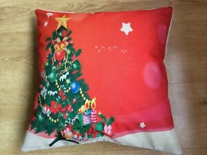 """NEW without Tag. CHRISTMAS Cushion Cover. 17 x 17"""" 43 x 43cm. Christmas Tree."""