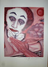 Mime Marceau Marcel Lithographie signée dessin de fleur Bip Mime art Moonwalk