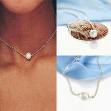 New Women Retro Simple White Single Pearl Floating Bead Chain Necklace Pendants
