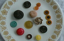 15 Beautiful Buttons - Retro - Colorful - Some Very Large 3-D Decorative Plastic