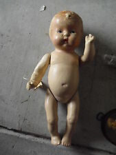 "Antique Composition Baby Boy Doll Jointed arms and Legs 13"" Tall"