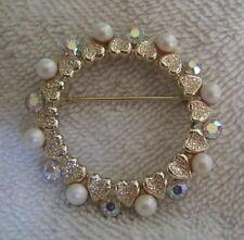 Gorgeous Vintage CORO Signed Aurora Borealis Rhinestone Faux Pearl Brooch Pin