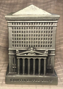 Vtg CONTINENTAL BANK Building Chicago Metal Coin Bank by Banthrico