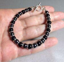 & Sterling Silver Toggle Bracelet 7.25 Black Onyx Hematite Hill Tribe Fine