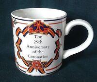ADAMS TEA CUP IRONSTONE CHINA MUG QUEEN ELIZABETH II CORONATION 25TH ANNIVERSARY