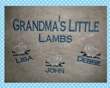 Grandma Crew Neck Sweatshirt - Grandkids Names Custom Embroidery - Lamb Shirt