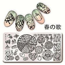 Placa de imagen de Estampado para Arte de Uñas Rectángulo Pizza Diseño Manicura harunouta L023
