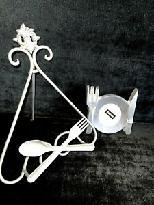 COOKBOOK STAND PEWTER FORK & SPOON STAND & PLATE PHOTO FRAME