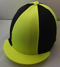 RIDING HAT COVER - FLUORESCENT YELLOW & BLACK WITH BUTTON