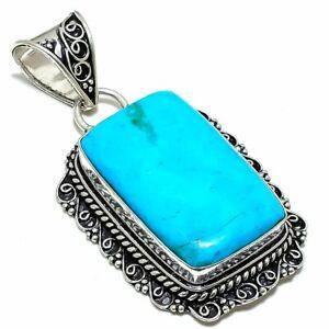 "Sleeping Beauty Turquoise Gemstone Ethnic Silver Jewelry Pendant 2.4"" PSL267"