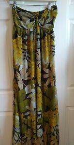 H&M Maxi Floral Chiffon Vacation Beach Dress Size 12
