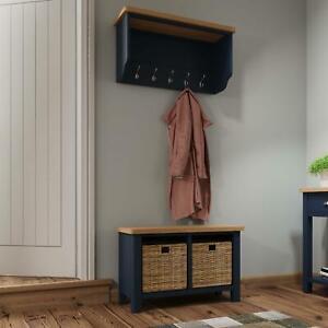 Blue Two Tone Wall Mounted Hallway Coat Rack 5 Hooks Bevelled Mirror Oak Top