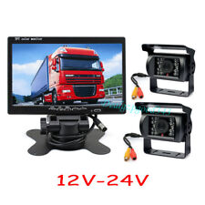 "2x IR  Reversing Camera for Bus Truck + 7"" LCD Monitor Car Rear View Kit 12V-24V"