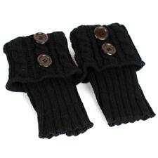 Women Ladies Winter Leg Warmers Button Crochet Knit Boot Socks Toppers Cuffs