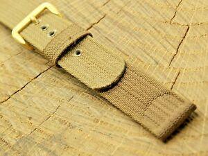 "NOS Unused Vintage Tan Nylon Watch Band w Gold Tone Buckle 16mm 5/8"" Men's"
