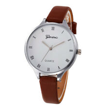 Women Ladies Fashion Casual Checkers Faux Leather Quartz Analog Wrist Watch