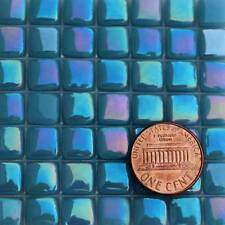 8mm Mosaic Glass Tiles - 2 Ounces About 87 Tiles - Iridescent Phthalo Blue #4