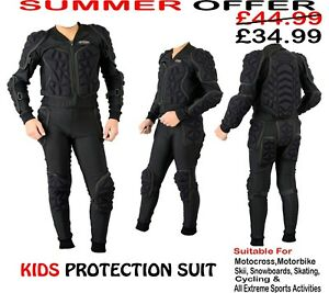 KIDS BODY ARMOUR MOTORBIKE MOTORCYCLE MOTOCROSS CUBS SPINE GUARD PROTECTION SUIT