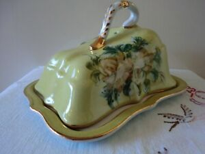 CHEESE DISH IN  BRIGHT YELLOW FLORAL DESIGN UNMARKED MAKER VGC