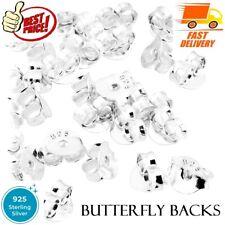 Sterling Silver Butterfly Backs for Earrings 925 Ear Pin Fit Stud Scroll Stopper