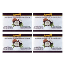 Extra Virgin Organic Cold Pressed Coconut Oil Natural Bar Soap 4.3 Ounce 4 Pack
