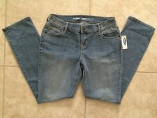 ☀️NEW Old Navy Women Blue Denim Jeans CURVY Mid-Rise Straight Leg 2 Short