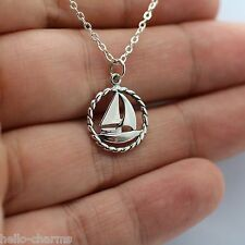 SAILBOAT CHARM NECKLACE - 925 Sterling Silver Nautical Sailing Ship Ocean Sea