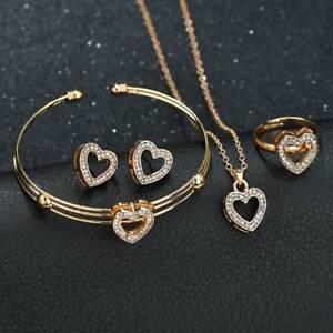 Women Girls Kids XMAS Jewelry Set Gift Necklace Bracelet & Earrings gold ring UK