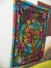 Multi Astrology Tapestry Cycle Of Ages Wall Hanging Twin Indian Bed Sheet Throw