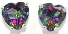 2 Ct Natural Mystic Topaz Heart Stud Earrings 14Kt White Gold